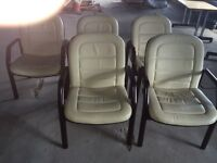 Cream leather and wood reception/visitor chairs 7 available