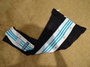 Adidas Black White Aqua Blue Tearaway Pants Vintage 90s Kids L