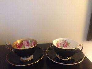 2 Crown Chine teacups & Saucers Black with red roses & gold trim