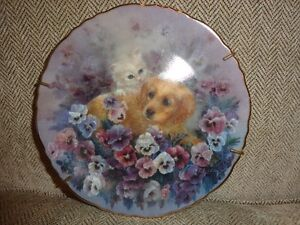 Paws in the Posies collector plate by Lily Chang