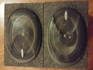 Pioneer TS-A6966 Coaxial Three Way 6x9 Speakers in Boxes