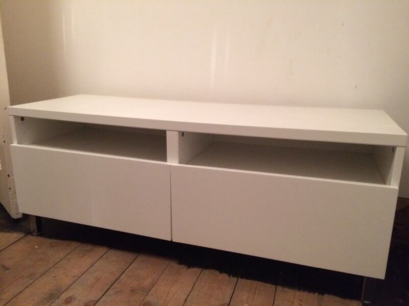 ikea besta tv storage unit stand white with chrome legs in rugby warwickshire gumtree. Black Bedroom Furniture Sets. Home Design Ideas