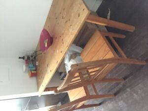 Wooden Dining table with 2 chairs $40 & ikea laptop stand $10!