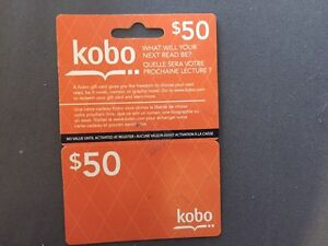Kobo e-reader gift card (unused / $50 value)