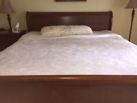 King size bed frame, mattress and spring boxes