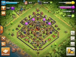 Compte Clash Of Clan / Hdv 10 Max / Heros 34 / 1900 Gems !