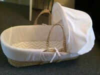 Beautiful White Unisex Moses Basket