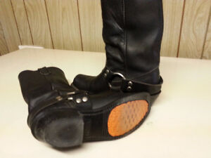 Double H Women's Black Leather Motorcycle Boots w/buckle & strap