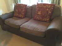 Pair of 2 seater sofas with suede arms