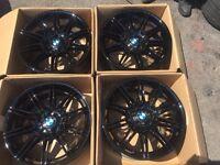"""ORGINAL GENUINE BMW 19"""" MV4 GLOSS BLACK M SPORT ALLOYS- M3 M4 3 SERIES E90 E92 E93"""