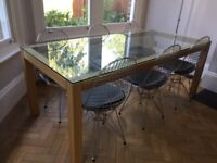 Habitat oak and glass dining table