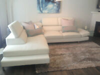 WHITE MODERN LEATHER SECTIONAL