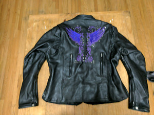 Motorcycle leather jacket womans