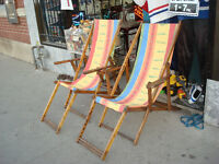 1930's ORIGINAL WOOD DECK CHAIRS (2) REDONE FRESH COTTON CANVAS