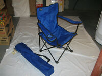 Two collapsing lawn chairs with shoulder carry bags