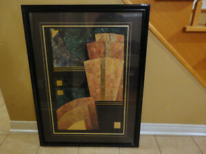 Large decorative black wooden framed abstract print wall hanging London Ontario image 2