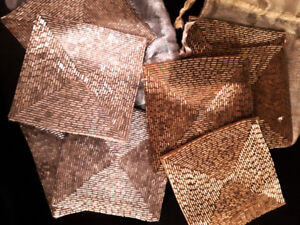 Elegant 2 sets of 4 each bugle bead coasters in iridescent bags.