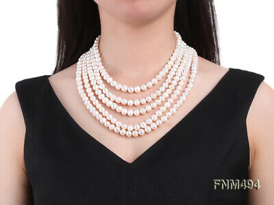 JYX Pearl Multi Strand Real 6-7mm White Round Freshwater Cultured Pearl Necklace