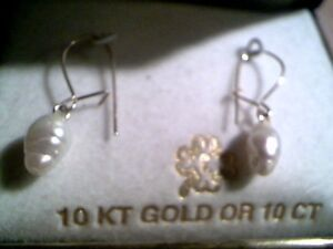 10k real pearl earrings