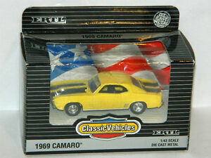 Ertl 1/43 Scale 1969 Chevrolet Camaro Diecast Car Yellow