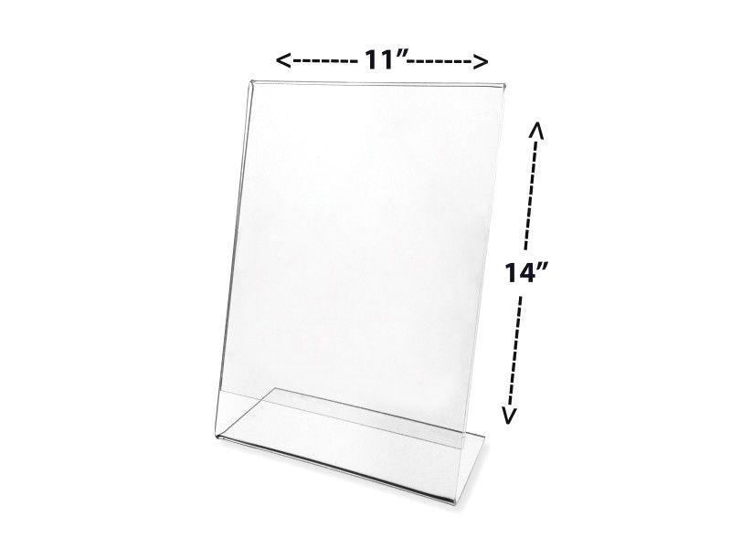 """11"""" x 14"""" Vertical Acrylic Table Tent Picture Display & Sign Holder - Clear"""