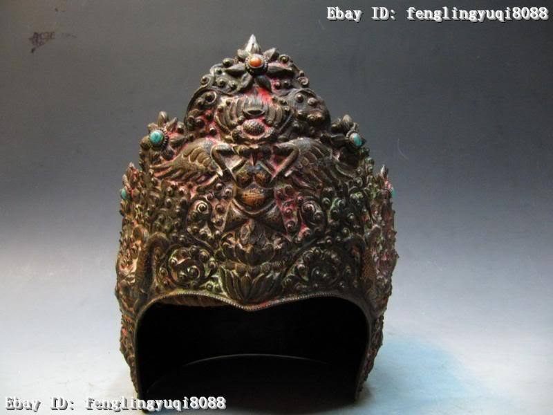 "11"" Chinese vintage old Copper Bronze handwork made Gen. cap Hat"
