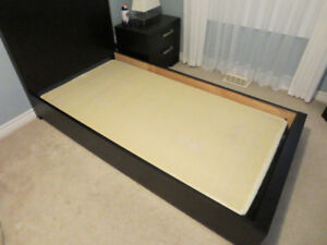 Solid wood twin size bed with box spring