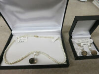 Pearls, Gold, and Topaz Necklace, W/ Earrings set. New in Box