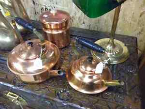 COPPER & BRASS KETTLES TEA POTS & CANNISTER COLLECTION