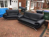3 + 2 black leather set - very good condition // free delivery
