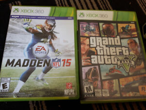 GTA 5 and MADDEN 15 - XBOX 360 - NEAR MINT CONDITION