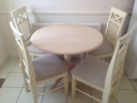 Circular round cream dining table chairs kitchen