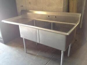 Stainless steel sink - Double sink with drainboard