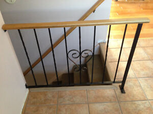 Wrought Iron Railing with Wood Top