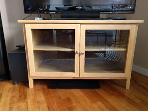 Solid Wood TV Stand with Glass Doors ($60 OBO)