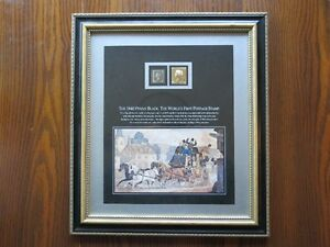 "FRAMED ""PENNY BLACK"" POSTAGE STAMP WITH GOLD FOIL"