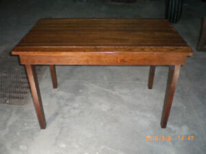 antiques -  1920;s table & bread box.