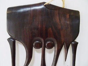 TRIBAL carved ebony COMB STYLE WALL HANGING designer piece Kitchener / Waterloo Kitchener Area image 6