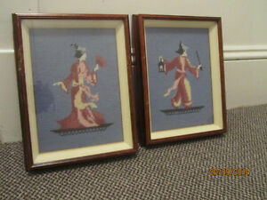 Two Antique Framed Needlepoints