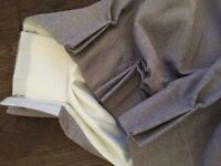 Grey tightweave 2.5m long fully lined curtains like new!
