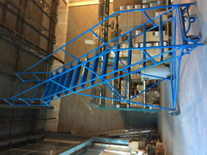 10 foot, 12 step rolling safety ladder for warehouses