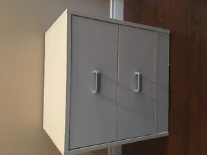 2 drawer white end table