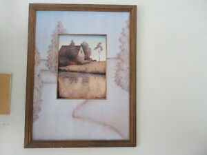 Large framed wall hanging country farmhouse scenery print London Ontario image 1