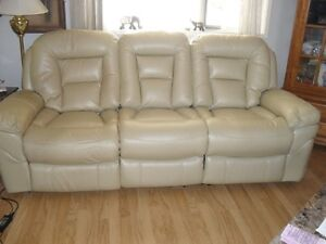 white faux leather reclining sofa