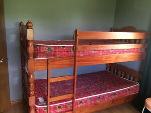 Bunk bed with mattresses