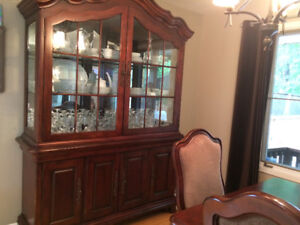 Classic cherry wood buffet, hutch, dining table and chairs