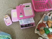 ELC till, shopping basket and play money