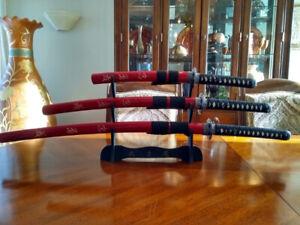 Set de 3 Sabres Japonais(DAISHO) Swords . . .  Katana . . . Epée