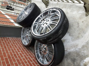 Luxury chrome rims with high performance tires 22 in.  bolt5x115