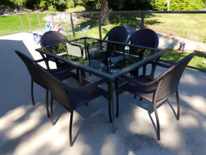 GLASS PATIO TABLE 6 CHAIRS UMBRELLA & BASE